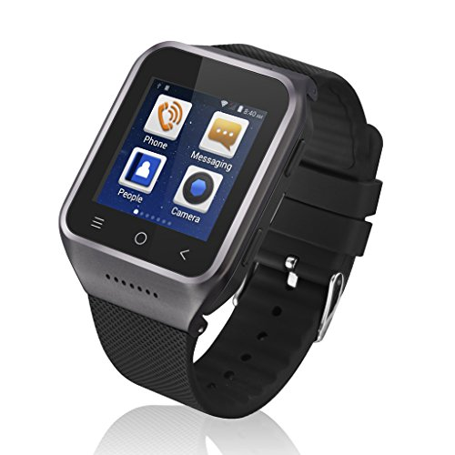 Excelvan 1.54 Inch 3G Android 4.4 MTK6572 Dual Core Phone Watch 2.0MP Camera WCDMA GSM Smart Watch with Email GPS WIFI (Black)