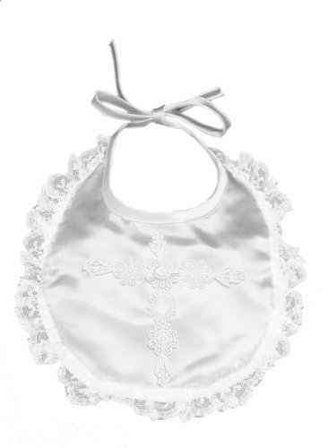 Lauren Madison baby girl Christening Baptism Infant Embroidered Cross Bib - 1