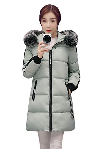 YMING Womens Slim lungo collo di pelliccia incappucciato giù cappotto del cotone del rivestimento Verde XL