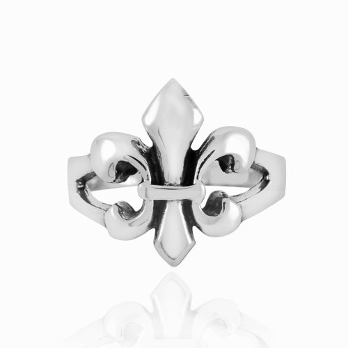 Unisex 925 Sterling Silver Polished 19mm Fleur De Lis Ring - Nickel Free Size 9 (Men Fleur De Lis Ring compare prices)