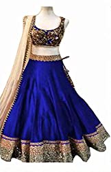 Metroz Wedding Ware Blue Raw Silk Lehenga Choli For Women