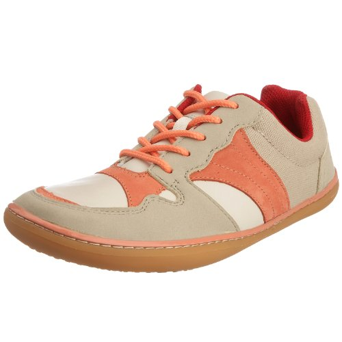 Vivo Barefoot Women's Lucy Trainer Leather Nubuck Beige/Pink VB40016NBEIPNK 4 UK