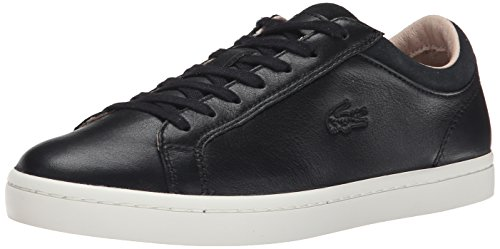 Lacoste Women's Straightset W1 Fashion Sneaker, Black, 8 M US