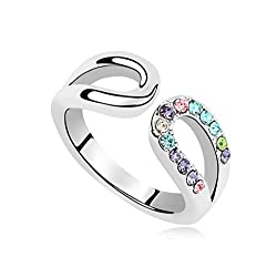 19 Likes Multicolor Swarovski Elements Crystal 18K Gold Plated Ring For Women
