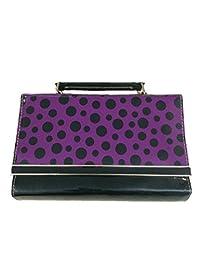 Slunk Purple & Black Sling Bag With Polka Dots
