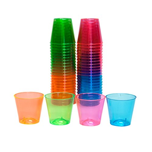 Party Essentials Hard Plastic 1-Ounce Shot Glasses, 50-Count, Assorted Neon - 1