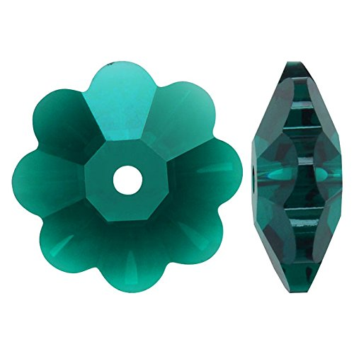 SWAROVSKI ELEMENTS #3700 10mm Crystal Flower Margarita Beads Emerald (6) (Swarovski Crystal Flower compare prices)