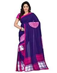 Admyrin Royal Blue Georgette Saree With Pink Blouse Piece