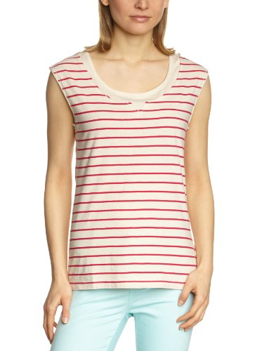 LTB Jeans - Top senza maniche, Donna, Multicolore (Mehrfarbig (Dust Berry Stripe 7357)), L