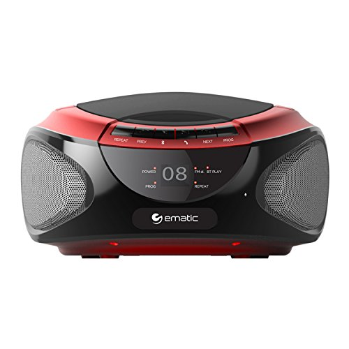 Ematic CD Boombox with AM/FM Radio, Bluetooth Audio and Spea