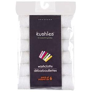 Kushies 6 Pack Wash Cloth Set, White
