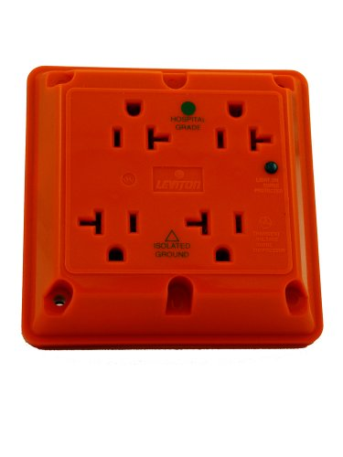 Leviton 8490-Ig 20 Amp, 125 Volt, 4-In-1 Receptacle, Straight Blade, Industrial Series Extra Heavy Duty Hospital Grade, Isolated Ground, Surge With Indicator Light, Orange