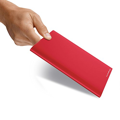 Ivapo 20000Mah Ultra-Thin Space Grade Aluminum Alloy Power Bank Universal External Powered Backup Porable Battery Charger For Iphone, Ipad, Samsung, Blackberry Rechargeable Emergency Backup (Red)