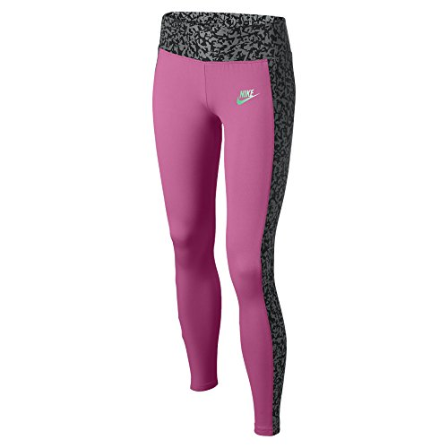 Nike Big Girls' (7-16) Seasonal Sport Casual Leggings-Pink/Grey-Small