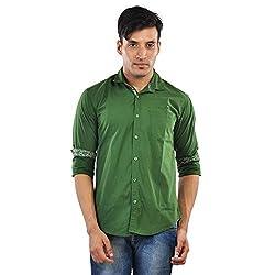 CREEDS Men's Green Cotton Casual Shirt(X-Large)