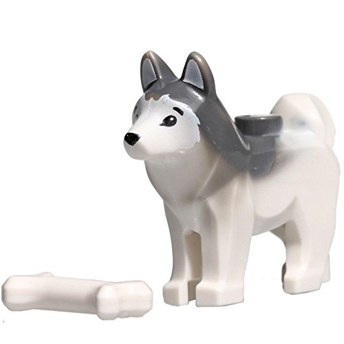 "LEGO Animal Minifigure Husky Arctic Sled Dog with Bone (Aprox. 1""inch Size) - 1"