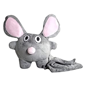 """Bubele Patch Buddies 7"""" Loyal mouse soft Plush Toy Grey and Pink With Blanket"""