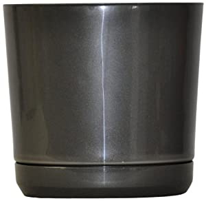 S SERIES Planter with Saucer, 10-Inch, Black
