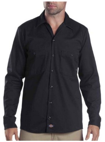 Dickies occupational workwear ll307bk s cotton men 39 s long for Black long sleeve work shirt