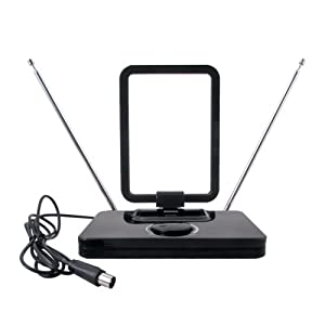August DTA305 Amplified Digital TV Antenna - Portable Antenna with Signal Booster for USB TV Tuner / ATSC Television / DAB Radio - With Dipole and Telescopic Aerial