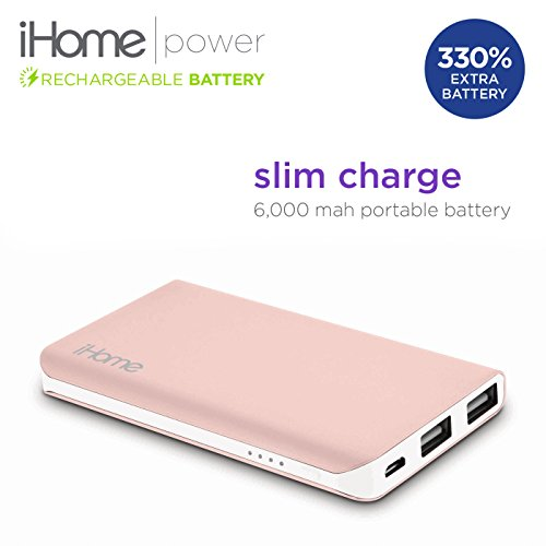 New iHome Slim Charge 6000 mAh Mobile External USB Battery Pack Portable Power Bank / Charger For Cell Phone, iPhone, Galaxy, Android (Rose Gold) (Halo Juice compare prices)