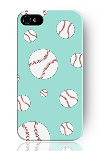 SPRAWL Classic Design Hard Plastic Case for Mobile Phone Apple Iphone 4 4S 4G–Lovely Baseball in Blue