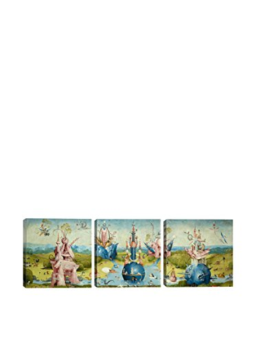 Hieronymus Bosch Top Of Central Panel From The Garden Of Earthly Delights II (Panoramic) 3-Piece Canvas Print