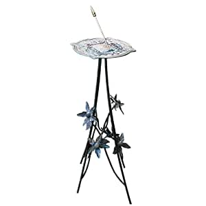 Rome B86 Floral Sundial Pedestal Base, Wrought Iron with Antique Finish, 32-Inch Height