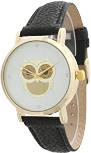 Ladies Owl Design Leather Watch - Black