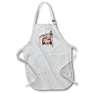 apr_104388_3 Dooni Designs Random Toons - Silly Superhero Super Pig Cartoon - Aprons - Waist Apron with Pockets