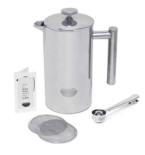 Es-Perto-Stainless-Steel-French-Press-Coffee-Maker-34-Ounce-Double-Wall-Insulated-Manual-Portable-Chrome-Finish