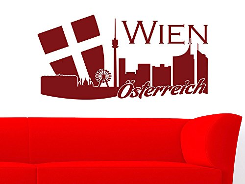 Wandtattoo Wall Sticker Deko für Wohnzimmer Büro Skyline Wien Österreich Austria Flagge Städte Länder (Größe=60x30cm//Farbe=020 goldgelb)