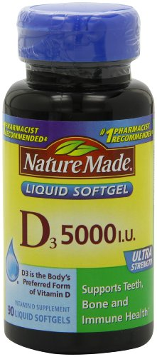 Nature Made Vitamin D-3, 5000IU, 90 Softgels
