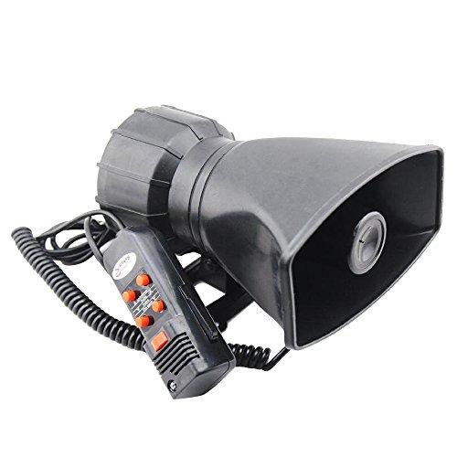 Forepin® 60-100W Adjustable 12V 5 Sound Loud Car Warning Car Amplifier Alarm Speaker Police Fire Siren Horn PA Loudspeaker MIC System