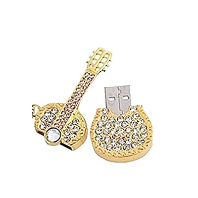 Microware 16GB New Designer Fancy Metal Guitar Shape Pendrive (Golden)