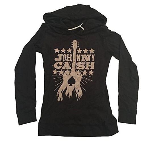 JOHNNY CASH - WOODCUT GUITAR - OFFICIAL WOMENS HOODED LONG SLEEVE SHIRT
