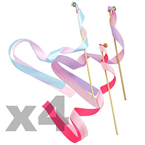 Kloud City ® 12 Pack Colorful Wedding Favor Ribbon Streamer Wands with Bells (Bell And Streamers compare prices)