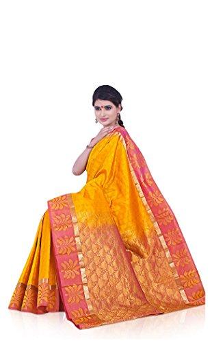 Sudarshan Pure Silk Kanjeevaram Hand Woven Saree (SAB49_Yellow)