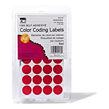 Charles Leonard Inc. Labels with Color Coding Dots, 0.75 Inch Diameter, Red, 1000 per Box (45130)