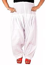 Tinnu G Women's Cotton Patiala Salwar (TGFPS1411_White_Free Size)