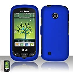 Blue Rubberized Snap on Hard Case Faceplate for Lg Cosmos Touch Vn270