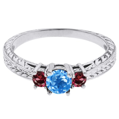 0.57 Ct Round Swiss Blue Topaz Red Rhodolite Garnet 14K White Gold 3-Stone Ring