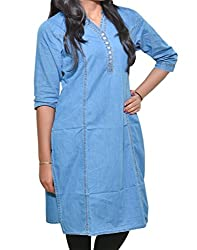 Mitra Creations Denim Kurti For Women-LightBlue_DenimKurti_F/S_D004