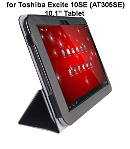 "Toshiba Excite 10SE (AT305SE) 10.1"" Tablet Custom Fit Portfolio Leather Case Cover with Built In Stand- Black"