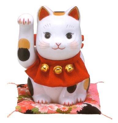 彩絵ふく福招き猫(右手・赤)(特大)
