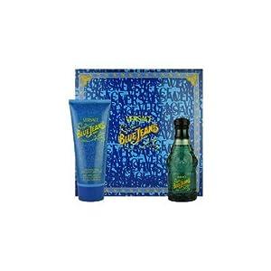 Blue Jeans by Versace for Men 2 Piece Set Includes: 2.5 oz Eau de Toilette Spray + 6.7 Foaming Gel for Body and Hair