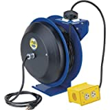 Coxreels EZ-Coil Safety Series Power Cord Reel with Quad Receptacle - 50ft., Model# EZ-PC13-5012-B