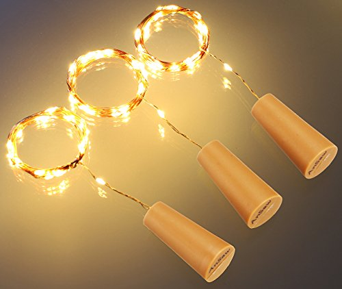 AnSaw Spark I Cork Shaped Wine Bottle Light Pro, Battery Powered, 20-LED,Waterproof Starry String Lights, Flexible Copper Wire, 3-Pack, Warm White Beautiful Carnival Glass