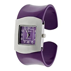 Geneva Platinum Womens Colored Band Cuff Watch