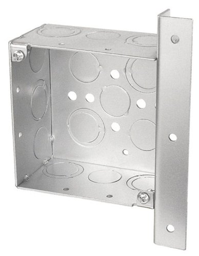 Steel City 4-Sw-Ab-1/2 Pre-Galvanized Steel Square Box With Angle Bracket-Offset 9/16-Inch From Top Of Box And 1/2-Inch Knockouts